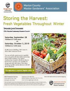 Storing the Harvest - Repeat of Sept. 28 workshop @ Marion Co. Health & Services Bldg